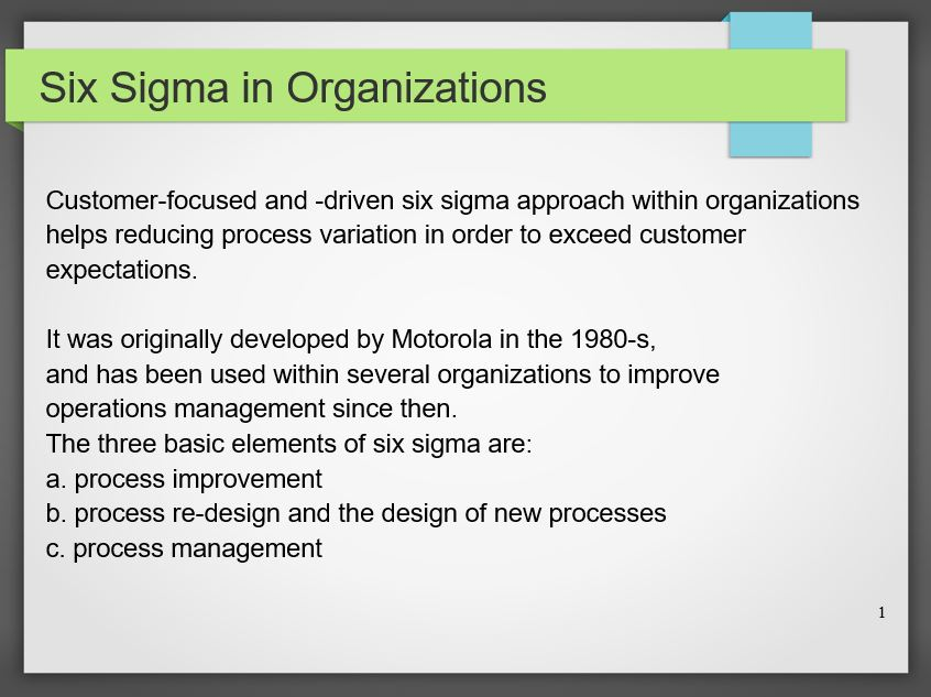 Six Sigma in Organizations