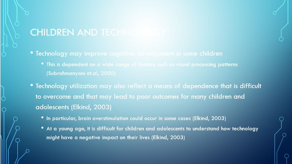 Children and Technology, Power Point Presentation Example