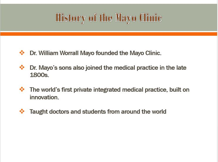 The Mayo Clinic, Power Point Presentation With Speaker Notes Example