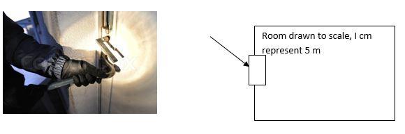 Room drawn to scale, I cm represent 5 m