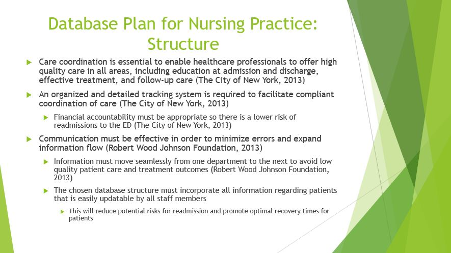 Database Plan for Nursing Practice Structure