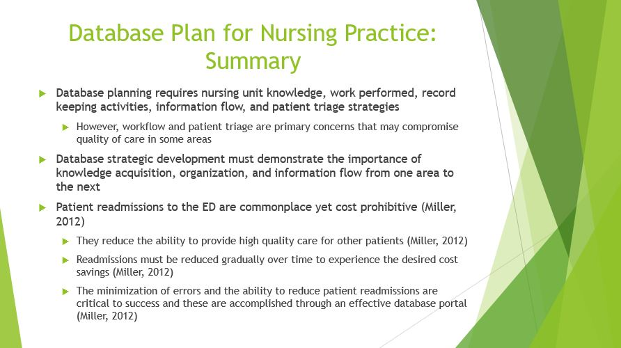 Database Plan for Nursing Practice Summary