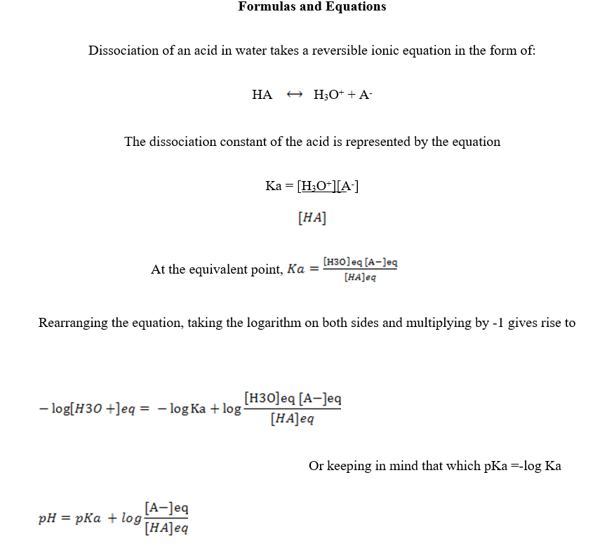 Determination of Ka of an Unknown Weak Acid, Lab Report Example