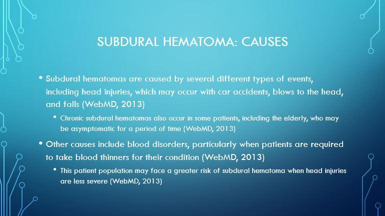 Subdural hematoma Causes