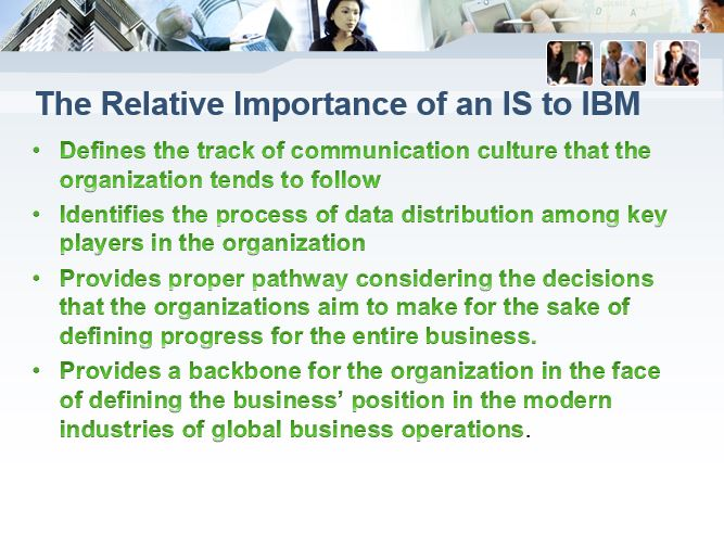 The Relative Importance of an IS to IBM