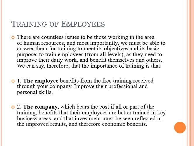 Training of Employees