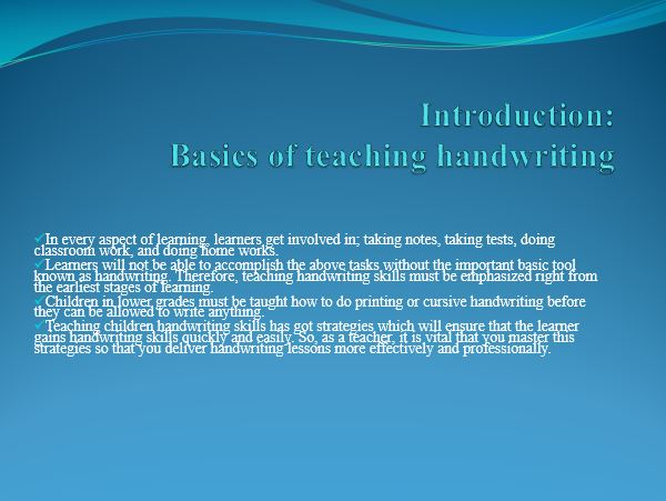 Basics of teaching handwriting