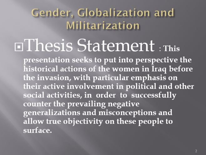 Gender, Globalization and Militarization