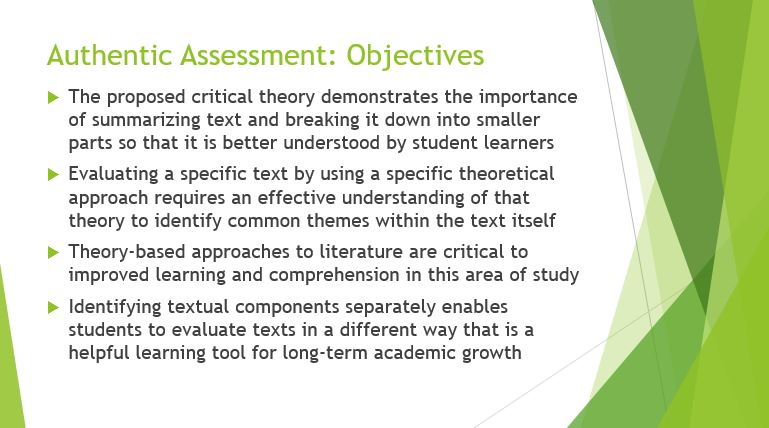 Authentic Assessment Objectives