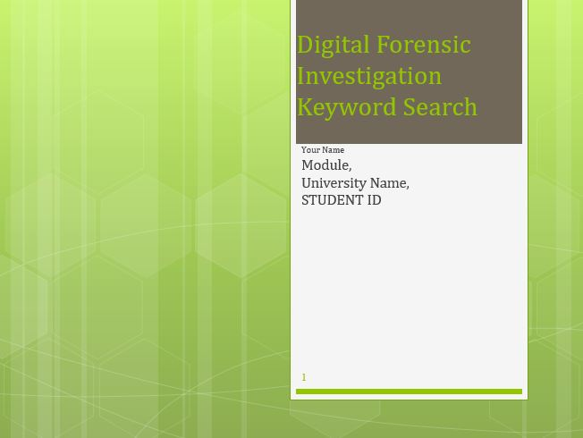 Digital Forensic Investigation Keyword Search