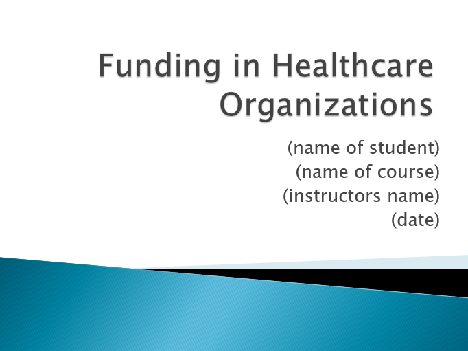 Funding in Healthcare Organizations